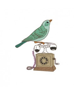 Instant download machine embroidery Bird on a vintage phone