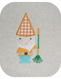 Instant download machine embroidery garden gnome with his rake