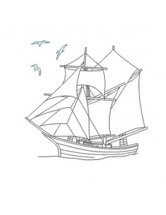 Instant download machine embroidery boat redwork
