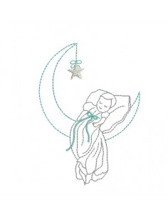 Instant download machine embroidery baby on a crescent moon