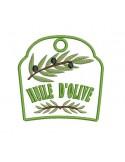 Motif de broderie machine accroche torchon huile d'olive