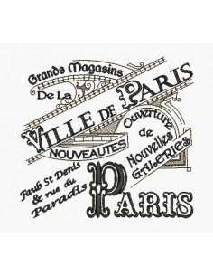 Motif de broderie machine plaque publicitaire Grands Magasins Paris