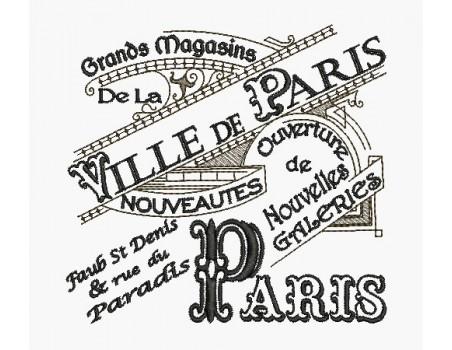 Motif de broderie machine plaque publicitaire Grands Magasins Paris