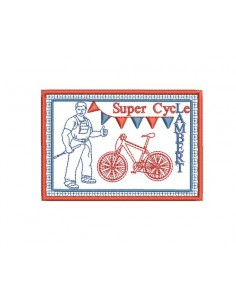 Instant download machine embroidery bicycle advertising plate