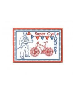Motif de broderie machine plaque publicitaire vélo