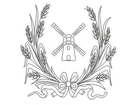 Motif de broderie machine moulin