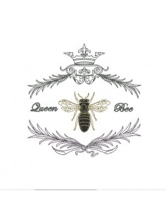 Instant download machine embroidery queen bee