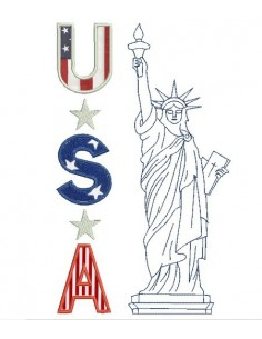 Instant download machine  applique statue of liberty USA