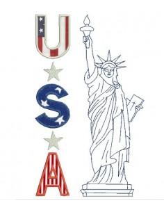 Motif de broderie machine statue de la liberté USA
