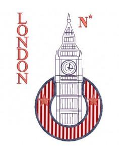 Motif de broderie machine Tour de l' horloge de Londres personnalisable