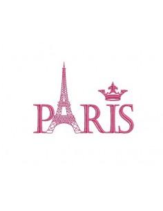 Instant download machine embroidery Paris eiffel tower crown