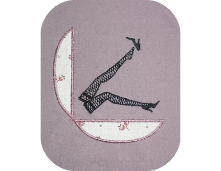 Instant download machine embroidery applique compact and fishnet stockings