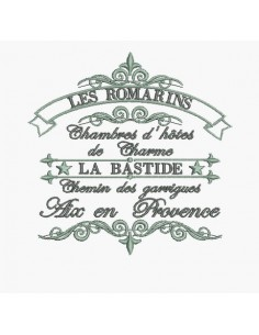 Instant download machine embroidery decorating the Country B & B Aix en provence