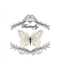 Motif de broderie machine papillon dans son encadrement
