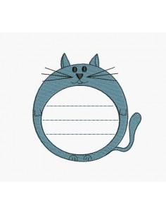 Motif de broderie machine étiquette chat
