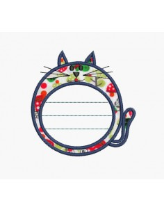 Instant download machine embroidery applique cat label customizable