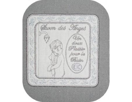 Motif de broderie machine cadre appliqué savon des anges