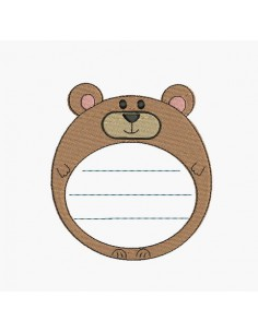 Instant download machine embroidery bear label customizable