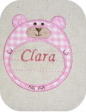 Instant download machine embroidery applique bear label customizable