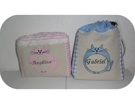 Instant download machine embroidery cat label customizable