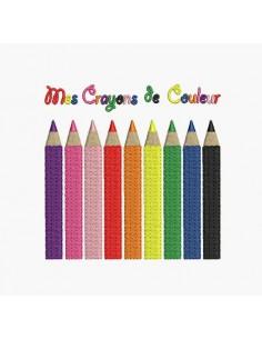 Motif de broderie machine crayons de couleur