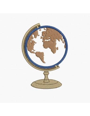 Motif de broderie machine globe terrestre