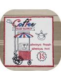 Motif de broderie machine café