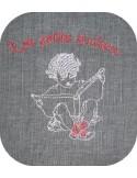 Motif de broderie machine petit écolier avec son livre