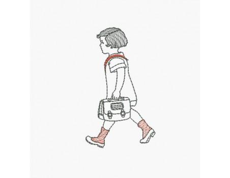 Motif de broderie machine écolière avec son cartable