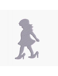 Instant download machine embroidery girl with shoes