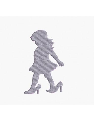 Motif de broderie machine silhouette fille aux chaussures