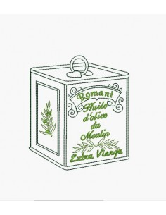 Instant download machine embroidery bottle of olive oil
