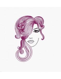 Motif de broderie machine visage femme