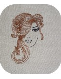 Instant download machine embroidery woman's face