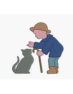 Motif de broderie machine garçon et le chat