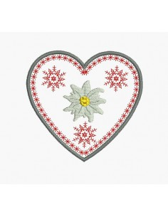 Instant download machine embroidery heart of edelweiss mountain