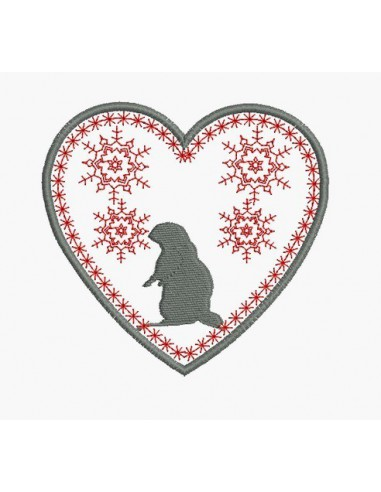 Instant download machine embroidery heart mountain