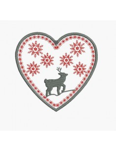 Instant download machine embroidery heart mountain deer