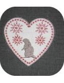 Motif de broderie machine coeur de montagne marmotte