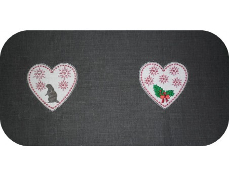 Instant download machine embroidery Heart of Christmas holly