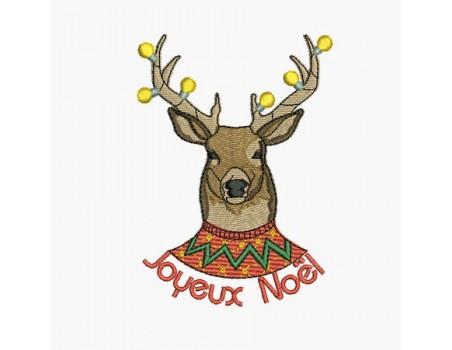 Motif de broderie machine cerf de Noël