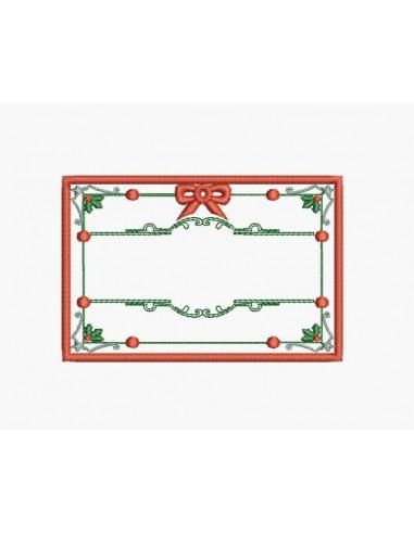 Motif de broderie machine étiquette de Noël personnalisable