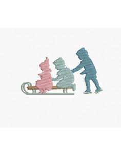 Motif de broderie machine silhouettes d'enfants faisant de la luge