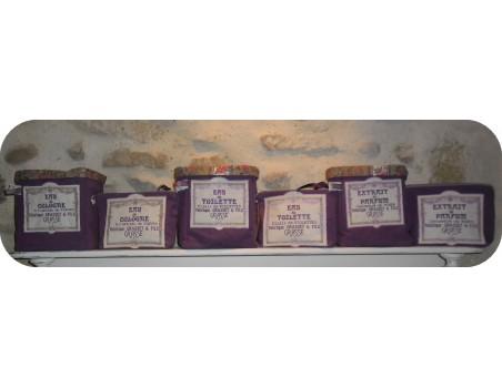 Motif de broderie machine cadre fleurs publicité eau de cologne