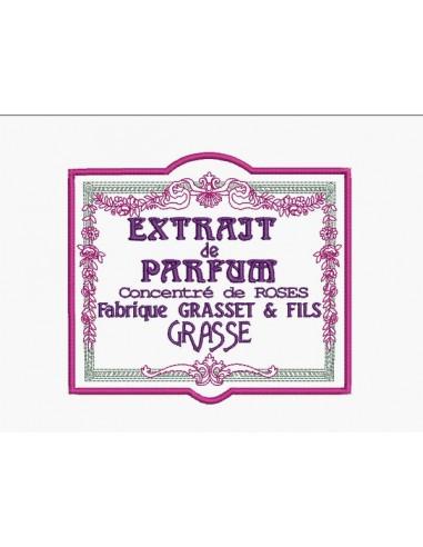 Motif de broderie machine cadre fleurs publicité extrait de parfum