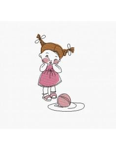Motif de broderie machine fille au ballon