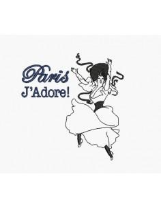 Motif de broderie machine femme rétro Paris j'adore