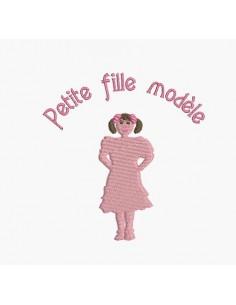 Motif de broderie machine silhouette petite fille modèle