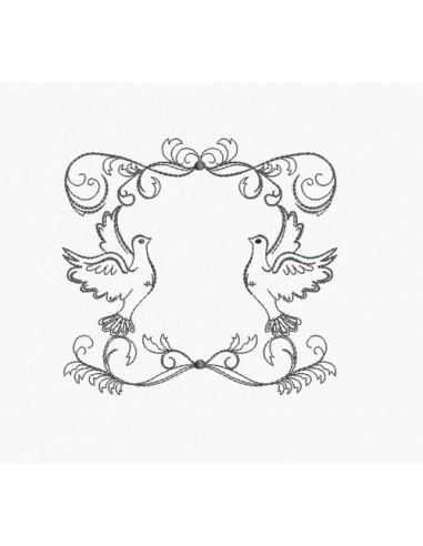 Motif de broderie machine cadre colombe