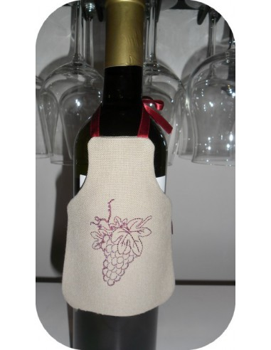 Instant download machine embroidery ith wine bottle apron
